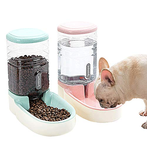 SLA-SHOP Pets Cats Dogs Automatic Waterer and Food Feeder 3.8 L with 1 Water Dispenser and 1 Pet Automatic Feeder (Pink and Green) (Cat Water Food Feeder)
