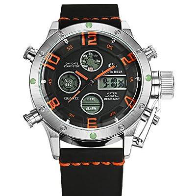 Tamlee PU Dual Time Multifunction Digital Analog Sport Watch 3Bar Waterproof Military Style Silver Orang