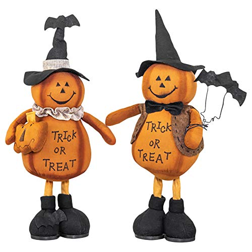 Hanna's Handiworks Trick Or Treat Standing Pumpkin Friends 17.5 x 7.5 Inch Orange Fabric Decorative Halloween Tabletop Figurines, Set of ()