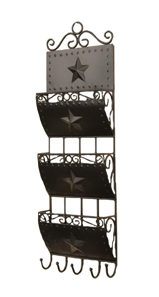 Your Hearts Delight 3-Pocket Letter Holder with 5 Hooks Wall Rack, 8 by 24-Inch 8T9385