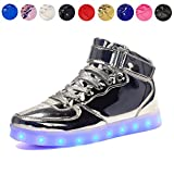 Black,US4//CN40 Voovix Kids LED Light Up Shoes USB Charging Flashing High-top Sneakers for Boys and Girls Child Unisex