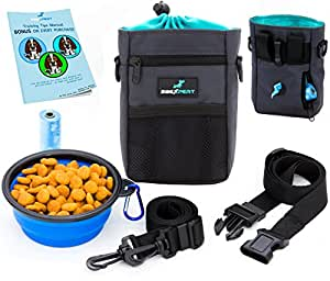 2BExpert Dog Treat Pouch, Training Bag with Built-in Waste Bags Dispenser,Deluxe Design Perfect Carry Pet Toys & Treats,Waist & Shoulder Strap + Bonus Collapsible Bowl & 1 Roll of Bags by