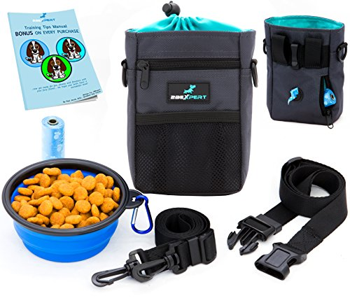 Dog Treat Pouch, Training Bag with Built-in Waste Bags Dispenser,Deluxe Design Perfect Carry Pet Toys & Treats,Waist & Shoulder Strap + Bonus Collapsible Bowl & 1 Roll of Bags by 2BExpert