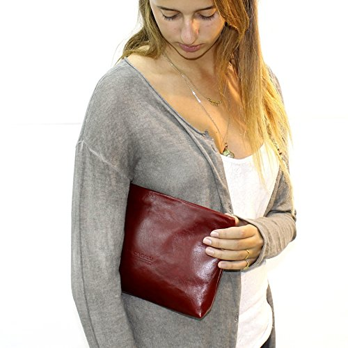 Burgundy leather wristlet Wrist strap clutch pouch with handle Handmade