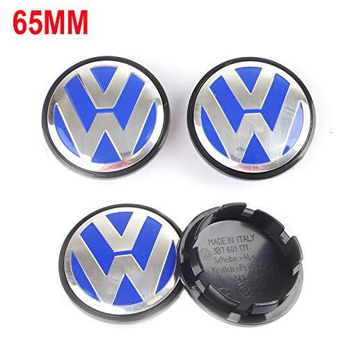 Wheel Center Caps Hubcap-4PCS 65mm 2.56'' Chrome Cap Cover Badge Emblem fit for Volkswagen VW Caddy EOS Golf Jetta Passat CC Phaeton Scirocco Sharan Tiguan Touran Transporter 3B7601171XRW 3B7 601 171