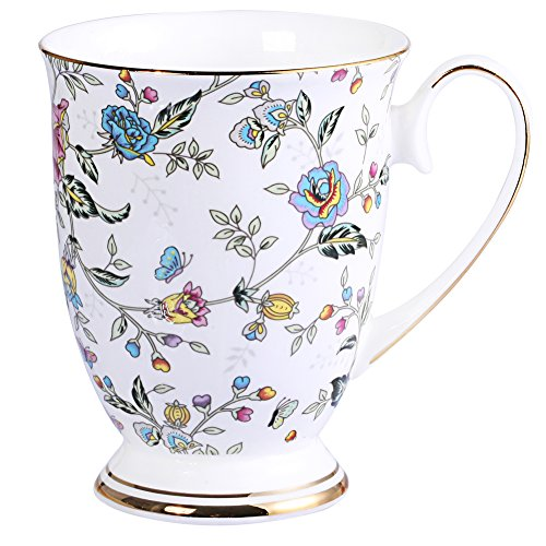 AWHOME Royal Fine Bone China Coffee Mug Assorted colors Tea Cup 11 oz (1, flowers)