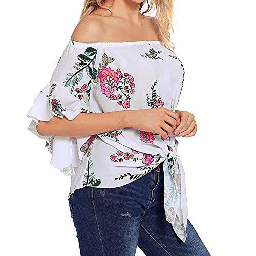 à Longues 3 Épaules Imprimé Haut Manches Beikoard Manches Fleurie Femmes Ourlet 4 Casual Shirt Dénudées Bandage à Blanc T Imprimé pour p6wqBZ
