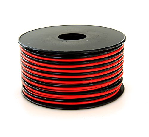 GS Powers True 16 Gauge (American Wire Ga) 100 feet 99.9% OFC stranded oxygen free copper, Red/Black 2 Conductor Bonded Zip Cord Power/Speaker Cable for Car Audio, Home Theater, LED strip Light