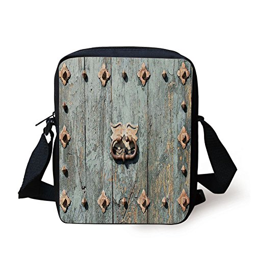 IPrint Rustic,European Cathedral with Rusty Old Door Knocker Gothic Medieval Times Spanish Style Decorative,Turquoise Print Kids Crossbody Messenger Bag Purse