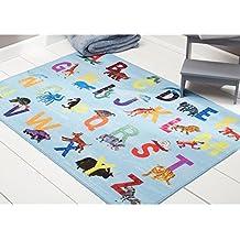 "Home Dynamix Eric Carle Elementary Alphabet Decorative 35"" x 51"" Area Rug, Blue/Multicolor"