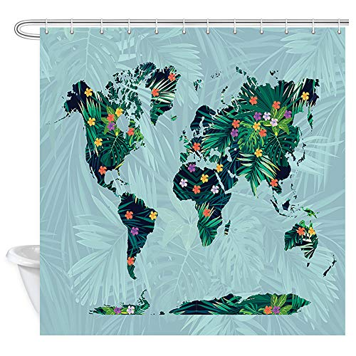 (DYNH Creative World Map Shower Curtain, World Map of Tropics Exotic Bright Hibiscus Flowers and Exotic Palm Leaves Bath Curtains, Fabric Shower Curtain for Bathroom 12PCS Shower Hooks, 69X70 in )