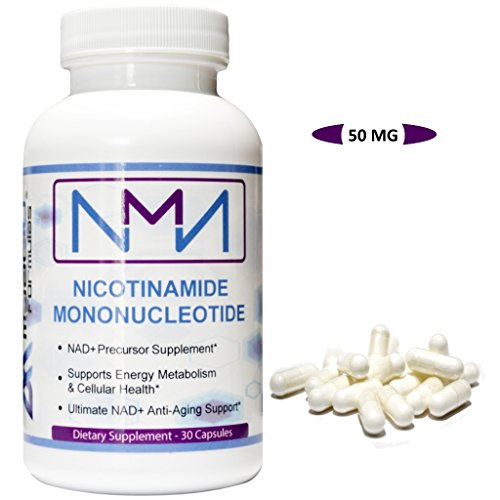 NMN Nicotinamide Mononucleotide. Powerful NAD+ Supplement. Promotes Anti-Aging DNA-Repair, Sirtuin Activation & Energy Metabolism. (50mg 30 capsules)