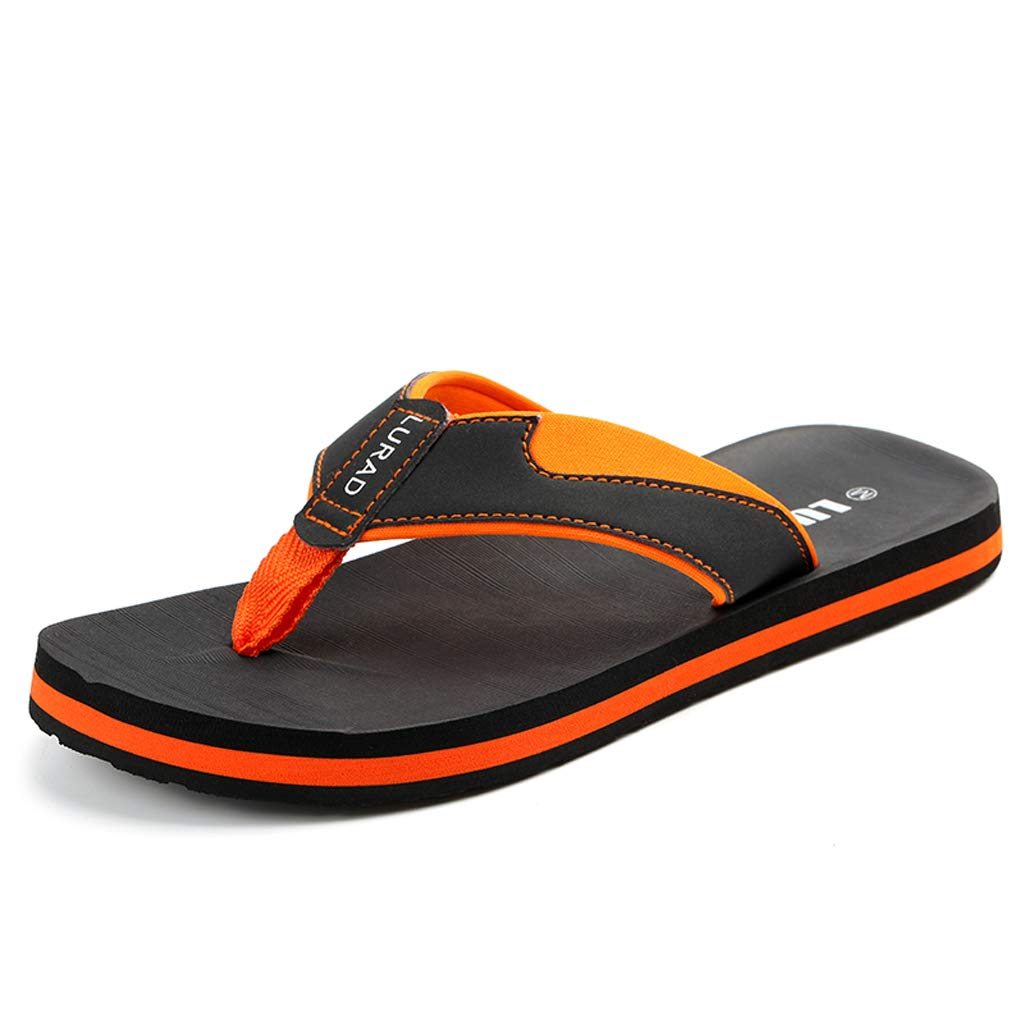 64e4c745e QAR Orange Men s Fashion Casual Summer Sandals And Slippers Outdoor Non-slip  Wear-resistant Beach Shoes flip flop (Color   ORANGE
