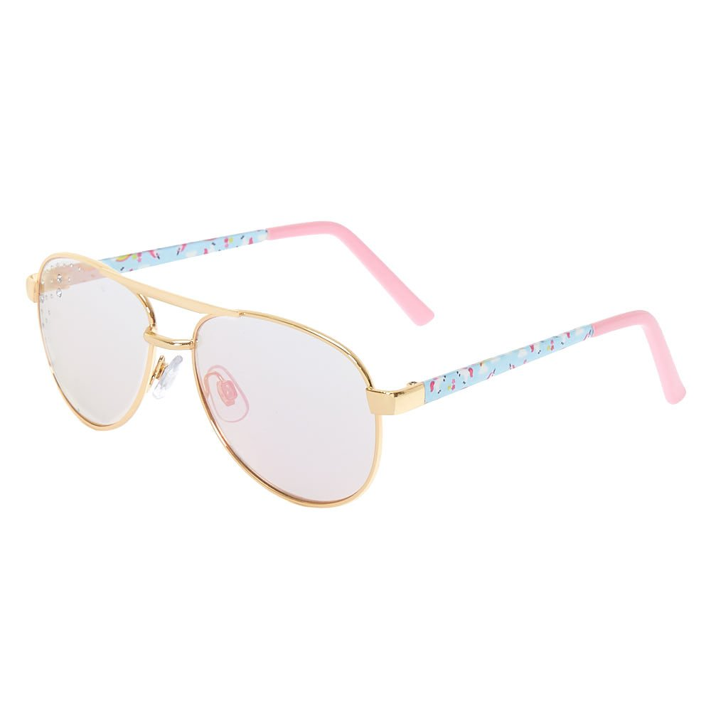 Claire's Girl's Kids Unicorn Print Aviator Tinted Sunglasses Gold. Claire's