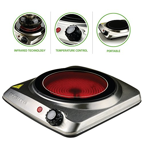 Ovente Countertop Infrared Burner  1000 Watts  7 Inch Ceramic Glass Single Plate Cooktop with Temperature Control, Non-Slip Feet  Indoor/Outdoor Portable Electric Stove  Stainless Steel (BGI101S)