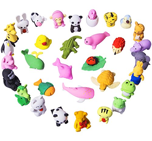 y Animal Erasers Kids Zoo Animal Japanese Style Erasers Mini Take Part Puzzle Toys Gifts Party Favors School Supplies No Duplicates ()
