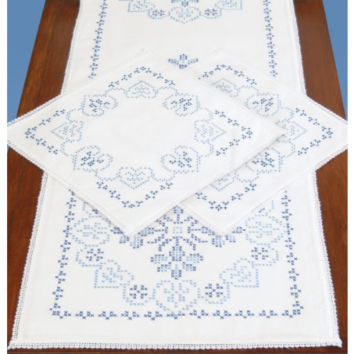 Lace Scarf Kit (Jack Dempsey Stamped Dresser Scarf and Lace Edge Americana Decor Doilies)