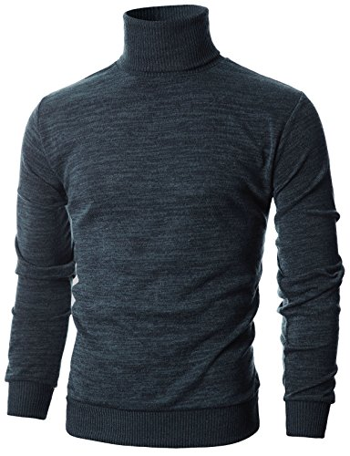 Ohoo Mens Slim Fit Long Sleeve Turtleneck Mixed Ribbed Hem Pullover Sweater/DCP024-CHARCOAL-L by Ohoo