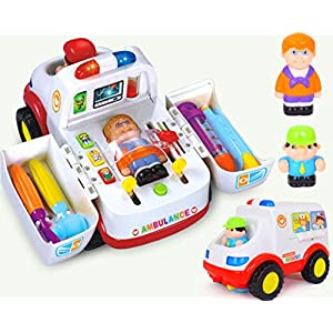 Early Education 3 Year Olds Baby Toy Ambulance with Music/Light/Small Parts for Children & Kids Boys and Girls