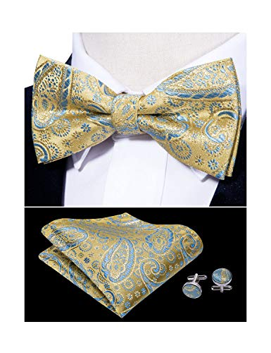 Barry.Wang Mens Green Silk Bow Tie Pocket Square Paisley Bowtie Cufflinks Mens Necktie Set