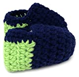 Baby Boys and Girls Seattle Seahawks Football Fan 12th Man Navy Blue and Lime Green Warm Hand Knitted Baby Boots Booties Shoes