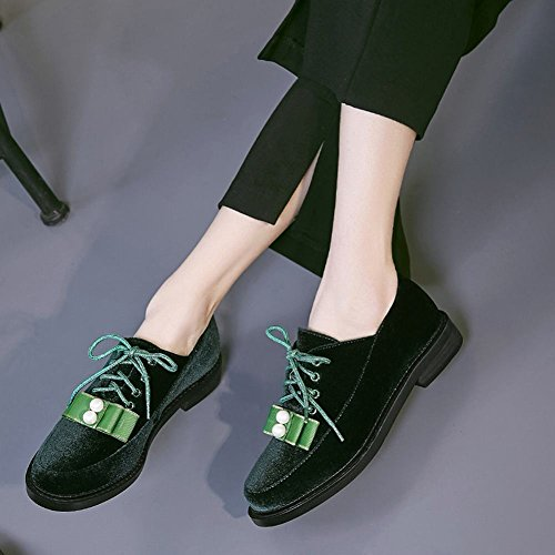 Charm Foot Womens Fashion Lace Up Bows Low Heel Oxford Shoes Green 6nuGFva