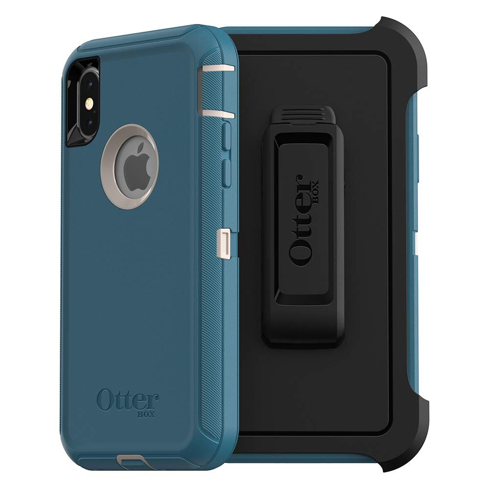 OtterBox DEFENDER SERIES SCREENLESS EDITION Case for iPhone Xs & iPhone X - Retail Packaging - BIG SUR (PALE BEIGE/CORSAIR)