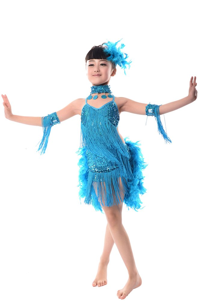 Amazon.com: ZEVONDA Sequins Tassel Girls Dress Skirt Contemporary Modern Stage Latin Dance Costume: Clothing
