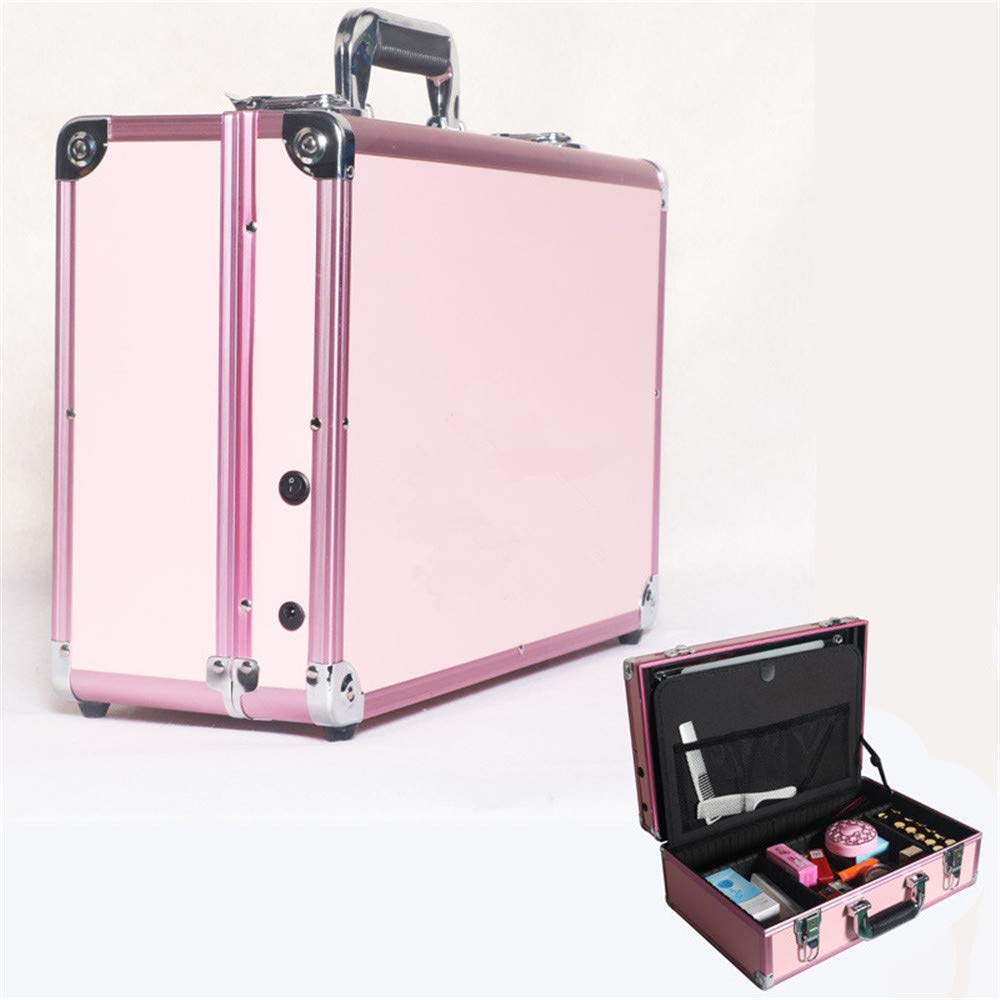 Toiletry Bag Travel Portable Lighted Cosmetic Case Aluminum Box Charging Plug-in Touch Dual-Tone Light Multi-Layer Partition Large Capacity (Color : Pink)