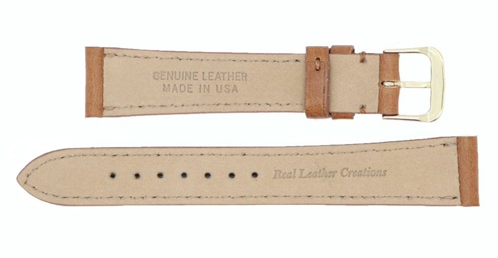 Montana Genuine Leather Watch Band Strap - American Factory Direct - 16mm 17mm 18mm 19mm 20mm 22mm - Both Gold & Silver Buckles Included - Made in USA by Real Leather Creations 16mm Tan PAD FBA46 by Real Leather Creations (Image #3)
