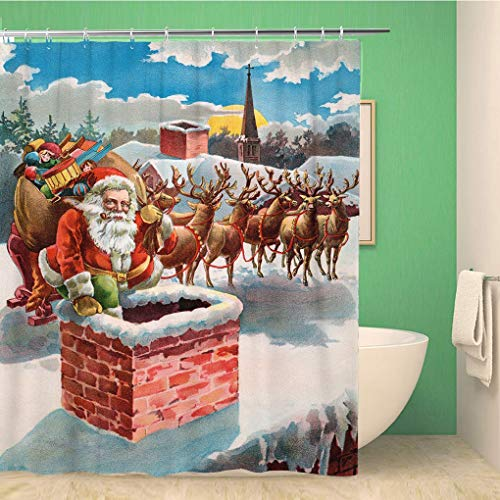 Awowee Bathroom Shower Curtain Red Santa Reindeer and Sleigh Roof Top Circa 1899 Polyester Fabric 66x72 inches Waterproof Bath Curtain Set with Hooks (Difference Between St Nick And Santa Claus)