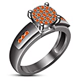 TVS-JEWELS Charming Engagement Ring For Women's Black Rhodium Plated 925 Sterling Silver (7.5)