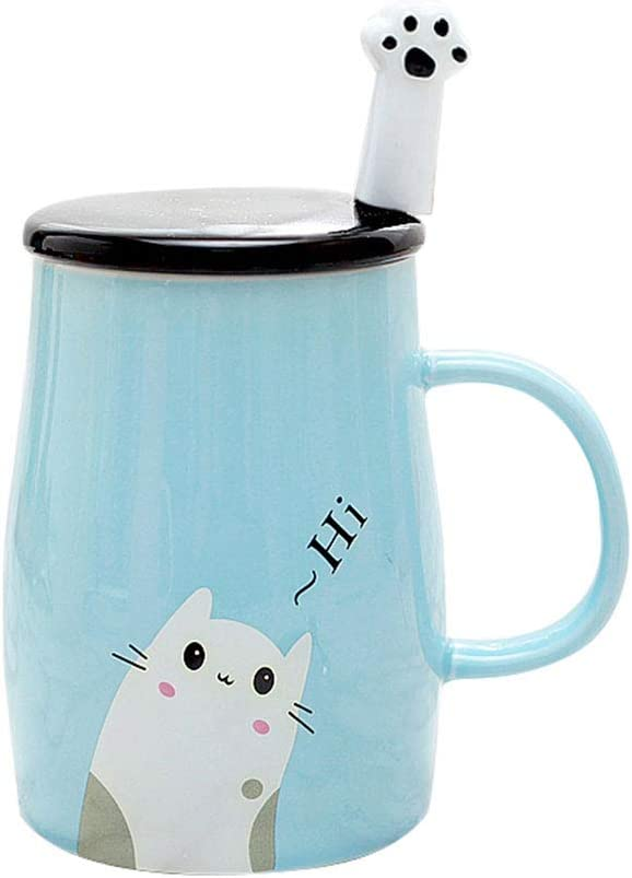 Taza Linda del Gato Taza de café de cerámica con Cuchara de Acero Inoxidable para Gatitos, Hola ~ Taza de café de la Novedad Regalo para los Amantes del Gato Rosado (Azul)