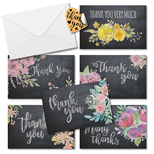 Thank You Cards Box Set Assortment 6 Unique Flower Chalkboard Designs - 36 Pack of Cards 4 x 6 inches Blank inside with Envelopes Free Stickers