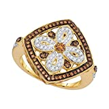 Jewel Tie - Size 6 - Solid 14k Yellow Gold Round Chocolate Brown Diamond Square Ring 3/8 Cttw.