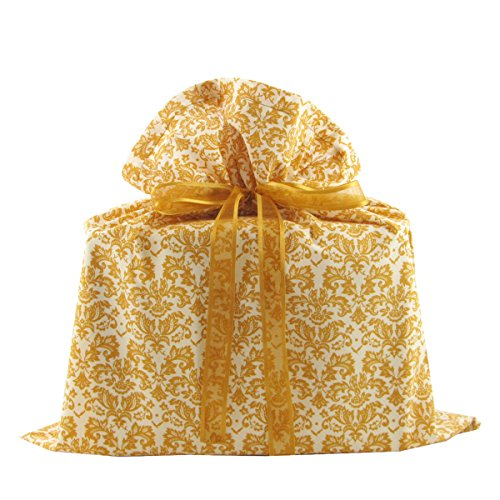 Gold Damask Reusable Fabric Gift Bag for Christmas, Wedding, Bridal Shower, Birthday or Any Occasion (Medium 17 Inches Wide by 18.5 Inches High)