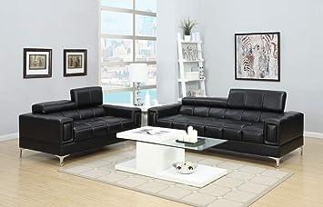 Amazon.com: Benjara Benzara BM167238 Bonded Leather Sofa and ...