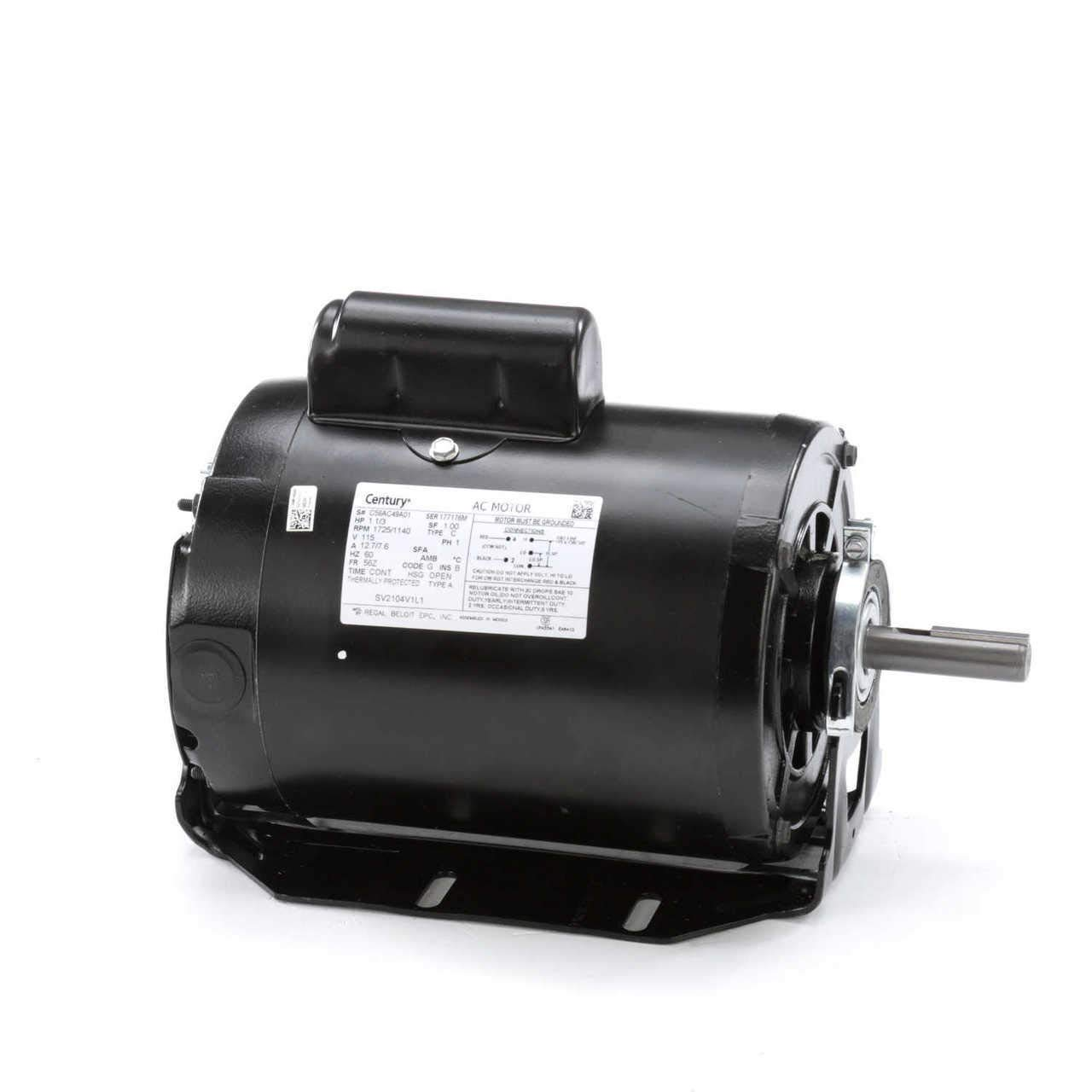 Evap Cooler Motor, 1 HP, 115V, 2 Speed