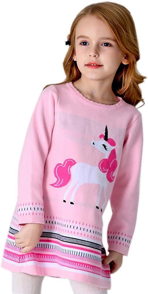 Bleubell Girls Unicorn Sweater Dress Garden Party Jesery Winter