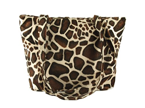 - Loni Womens Smart Animal Print Faux Fur Tote/Shoulder Bag in giraffe