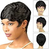 Short Natural synthetic Anti-Warping Wigs Synthetic Black Pixie Cut Wig Heat Resistant Fiber Hair Black Women (a)