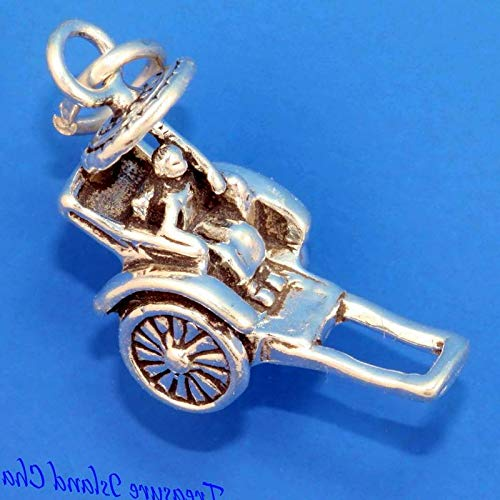 Lot of 1 Pc. Pulled Rickshaw Japan China Asian Asia 3D .925 Solid Sterling Silver Charm Vintage Crafting Pendant Jewelry Making Supplies - DIY for Necklace Bracelet Accessories by CharmingSS from CharmingStuffS