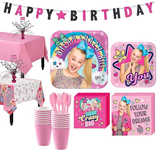 Party City JoJo Siwa Basic Party Kit and Supplies for 16 Guests, Includes Table Covers, Spray Centerpiece, Banner