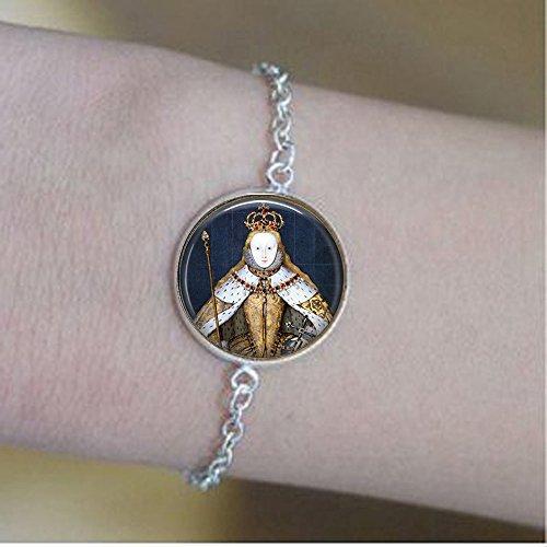 yijun Queen Elizabeth I in her Coronation Robes - British Monarch - Queen Elizabeth Pendant - Big Ben - Great Britain Memento - UK Jewellery Bracelets