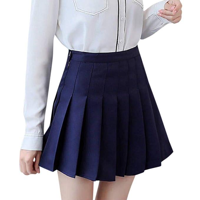 dd8074504 NINGNETI Moda para Mujer Cintura Alta Falda Plisada Mini Falda De ...