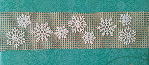 7 PC Total Ready to Use Edible Lace Rustic Burlap Hessian Fabric with White Snowflakes - Winter Wedding