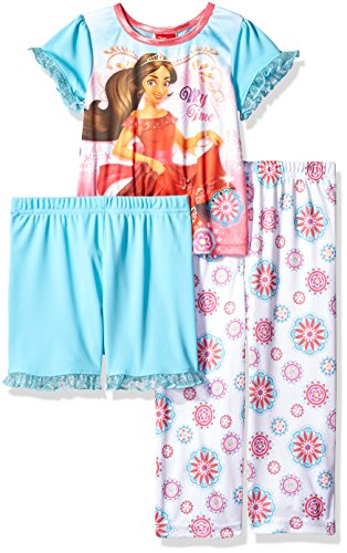 Disney Girls' Elena Avalor 3-Piece Pajama Set, Teal, 2T -