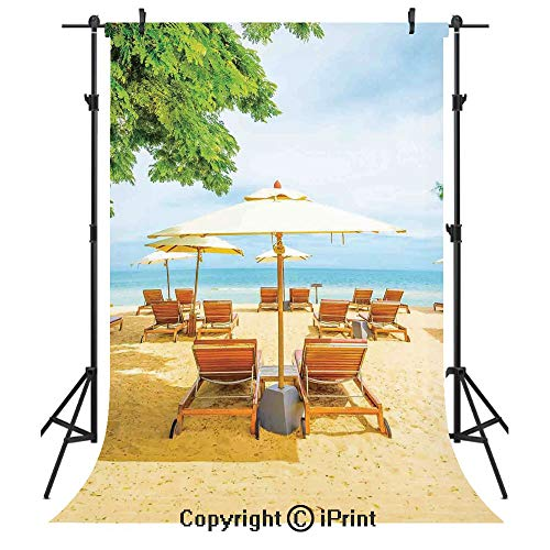 Seaside Photography Backdrops,Umbrella and Chairs on Tropical Beach Summer Vacation Destination Image,Birthday Party Seamless Photo Studio Booth Background Banner 3x5ft,Orange Green and - Party Pastel Destination