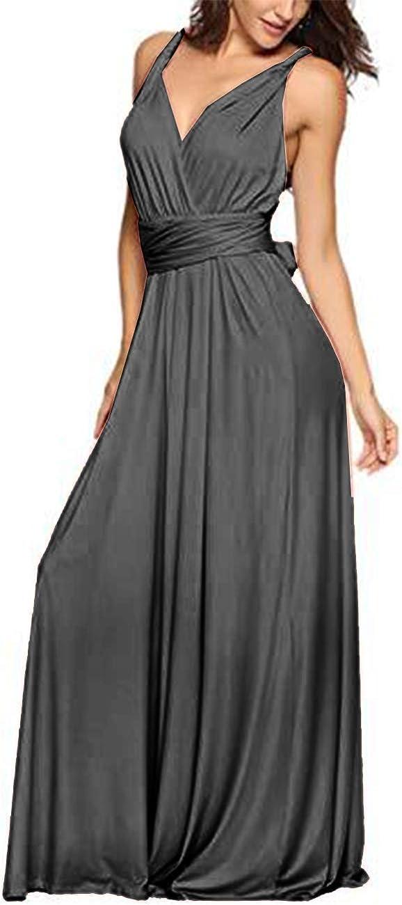 TALLA S. EMMA Mujeres Falda Larga de Cóctel Vestido de Noche Dama de Honor Elegante sin Respaldo Gris S