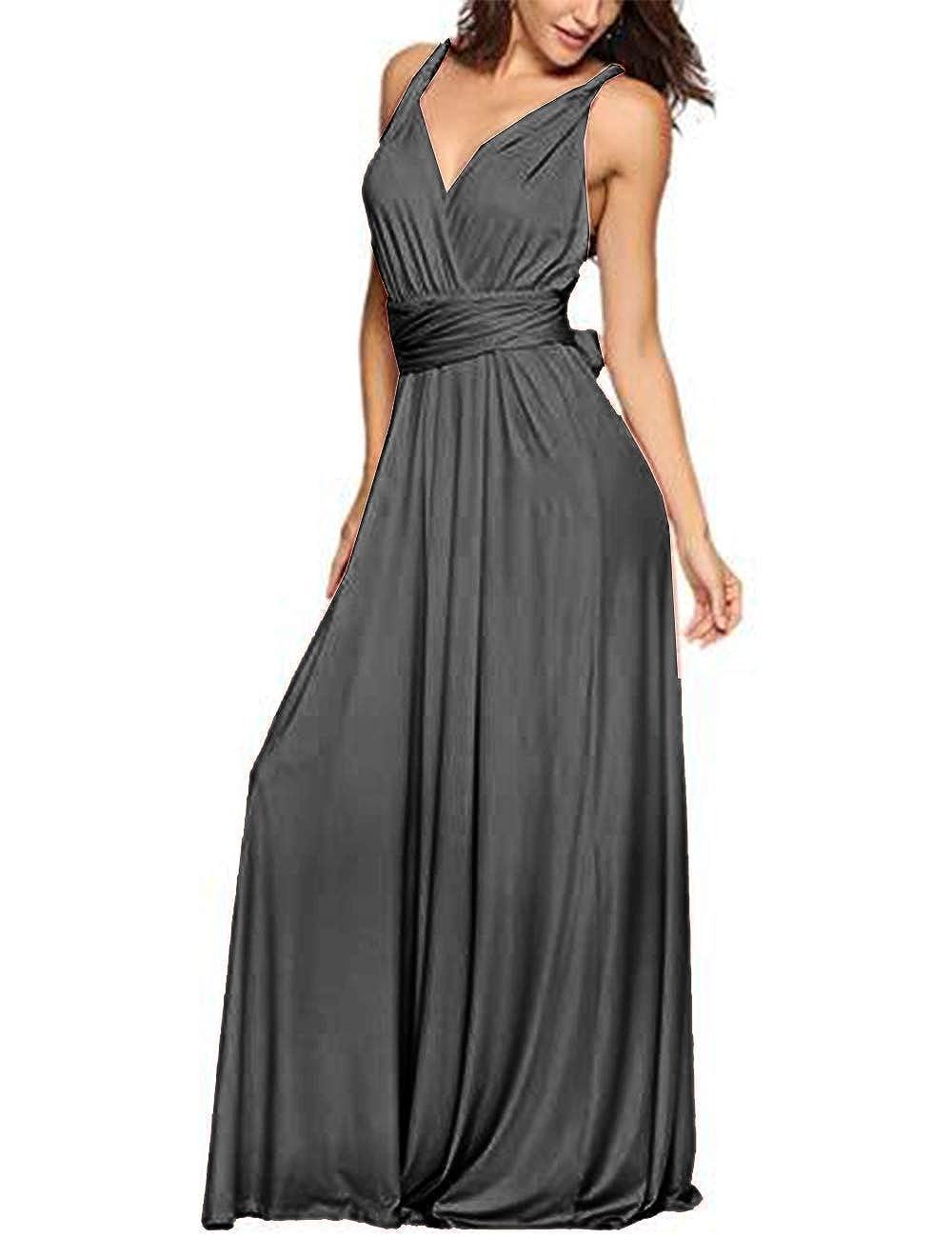 TALLA XL. EMMA Mujeres Falda Larga de Cóctel Vestido de Noche Dama de Honor Elegante sin Respaldo Gris XL